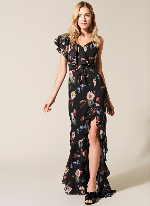 morhipo x dcey Volan Detaylı Çiçekli Elbise Siyah